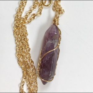 Natural Spiritual Amethyst Crystal Wired Necklace